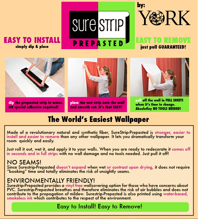 SureStrip Prepasted Wallpaper from York