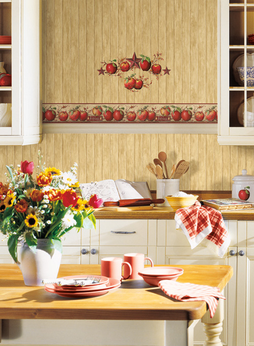 Country Apples + Bead board wallpaper